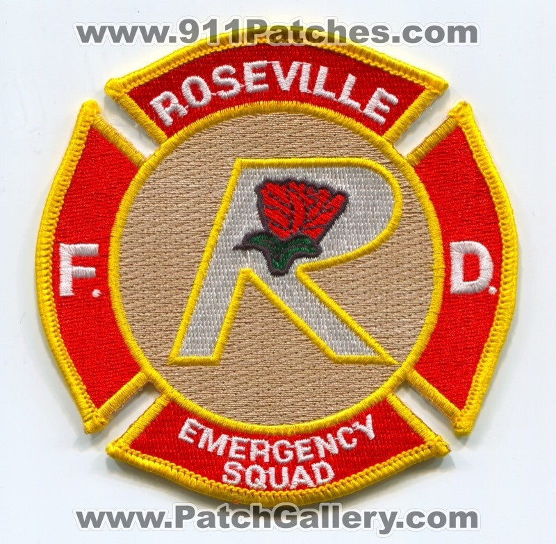 Roseville Fire Department Emergency Squad Patch Unknown State