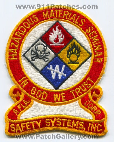 Safety Systems Inc Hazardous Materials Seminar Patch Florida FL