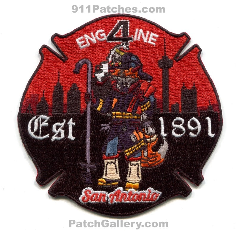 San Antonio Fire Department Engine 4 Patch Texas TX