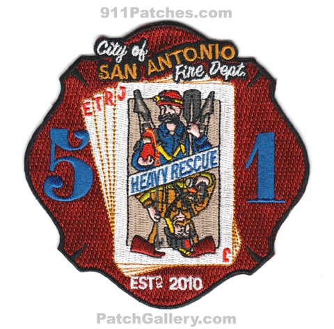 San Antonio Fire Department Heavy Rescue 51 Patch Texas TX