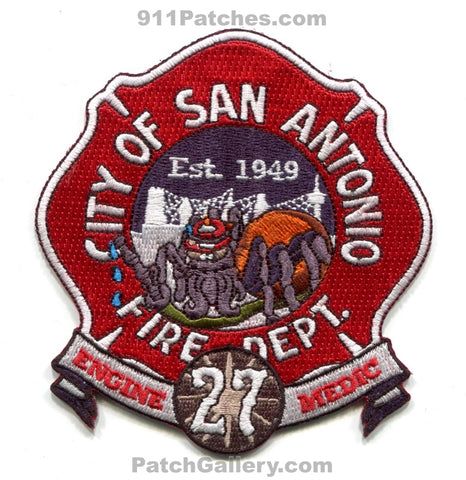 City of SAFD S.A.F.D. Dept. Company Co. Ambulance Patches Est. 1949 - Spider