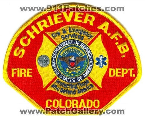 Schriever Air Force Base AFB Fire Department Patch Colorado CO