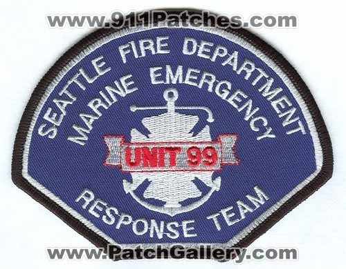 Seattle Fire Department Marine Emergency Response Team Unit 99 Patch Washington WA