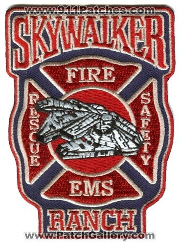 Skywalker Ranch Fire Rescue Department Star Wars Patch California CA