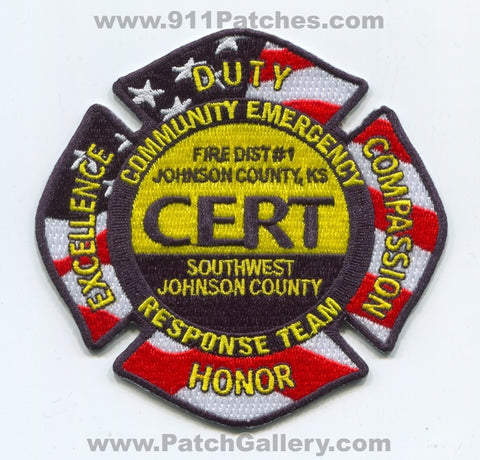Johnson County Fire District Number 1 Community Emergency CERT Patch Kansas KS