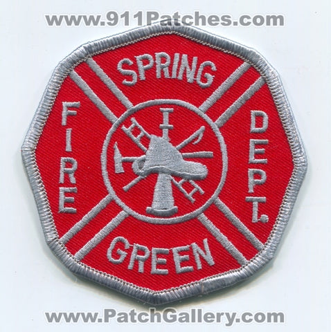 Spring Green Fire Department Patch Wisconsin WI