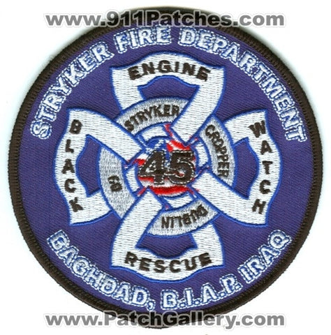 Iraq - Stryker Fire Department 45 Baghdad International Airport Military Patch