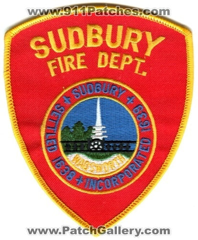 Sudbury Fire Department Patch Massachusetts MA