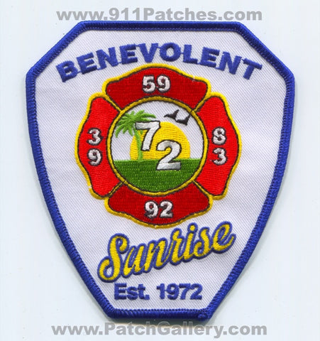 Sunrise Fire Rescue Department Benevolent Association Patch Florida FL