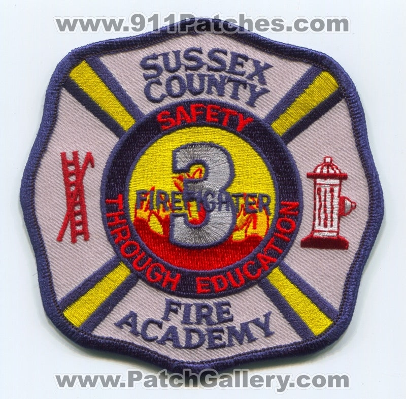Sussex County Fire Academy Firefighter 3 Patch New Jersey NJ