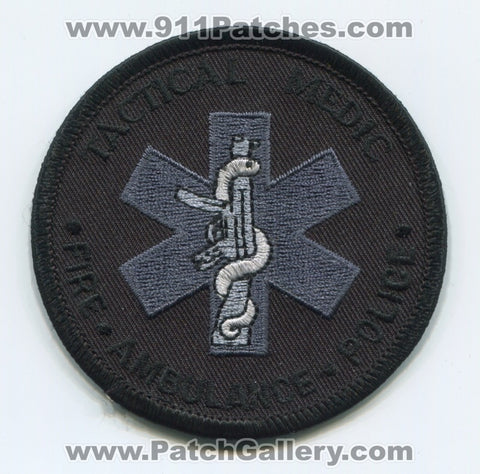 Tactical Medic Fire Ambulance Police Department EMS Patch Unknown State Black Gray