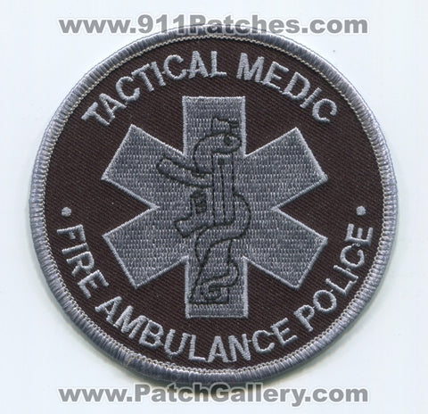 Tactical Medic Fire Ambulance Police Department EMS Patch Unknown State