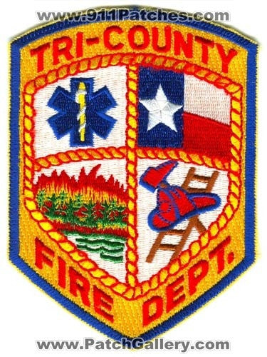 Tri-County Fire Department Patch Texas TX