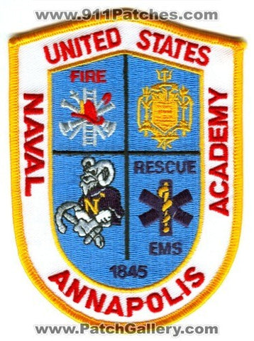 United States Naval Academy Annapolis Fire Rescue Department USN Navy Military Patch Maryland MD