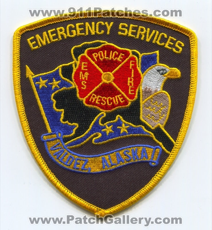 Valdez Emergency Services Fire Rescue EMS Police Department Patch Alaska AK