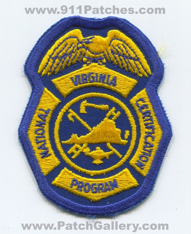 Virginia State National Certification Program Fire Department Patch Virginia VA