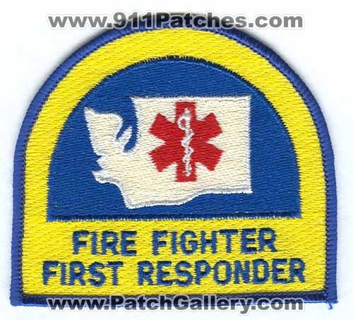 Washington State Certified Fire Fighter First Responder EMS Patch Washington WA