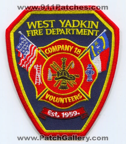 West Yadkin Fire Department Company 18 Patch North Carolina NC