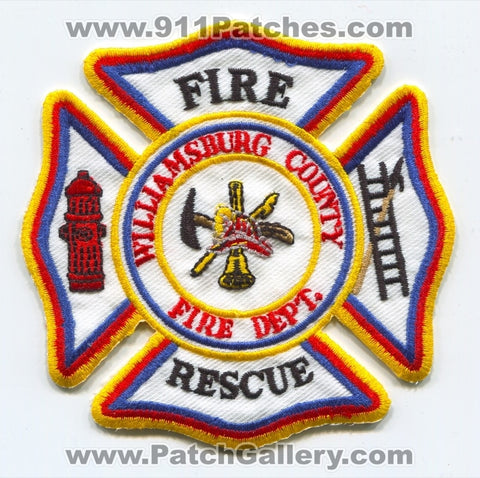 Williamsburg County Fire Rescue Department Patch South Carolina SC