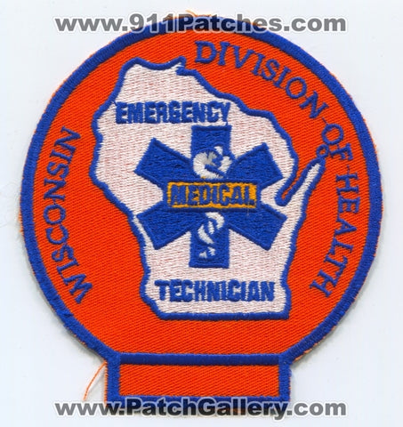 Wisconsin State Emergency Medical Technician EMT Patch Wisconsin WI