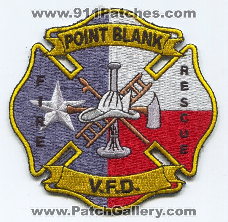 Point Blank Volunteer Fire Rescue Department Patch Texas TX