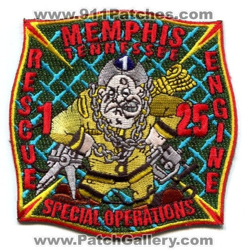 Memphis Fire Department Rescue 1 Engine 25 Patch Tennessee TN
