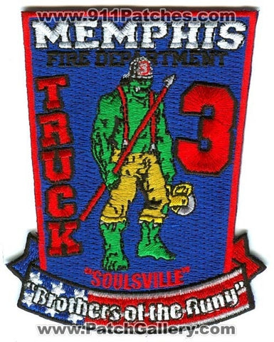 Memphis Fire Department Truck 3 Patch Tennessee TN v2