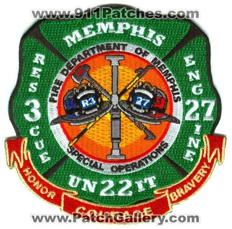 Memphis Fire Department Rescue 3 Engine 27 Unit 22 Patch Tennessee TN