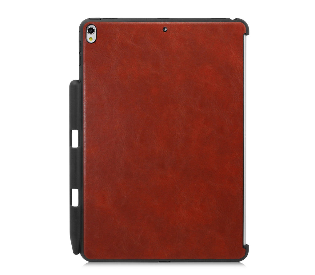 iPad PRO 10.5 Inch 2017 Back Cover WITH Pen Holder - Back Pen Leather Brown