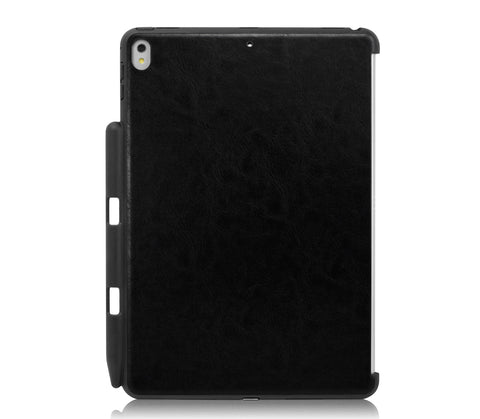 iPad PRO 10.5 Inch 2017 Back Cover WITH Pen Holder - Back Pen Leather Black