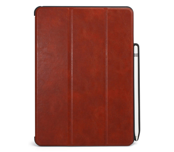 iPad Pro 10.5 Inch Case 2017 - WITH Apple Pencil Holder - DUAL PEN LEATHER BROWN