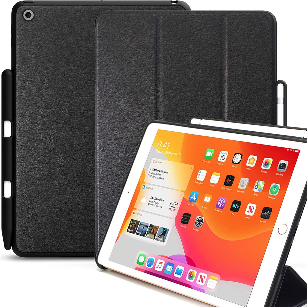 iPad 10.2 Case - Dual with PEN - Leather Black - 7th & 8th Generation