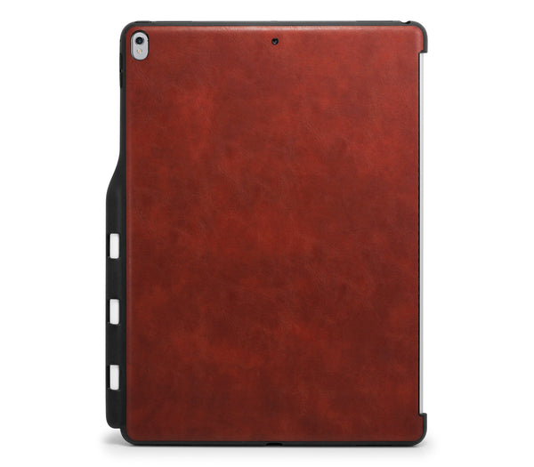 iPad PRO 12.9 2017 / 2015 Back Cover with Pen Holder - Back Pen Leather Brown