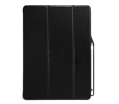 iPad PRO 12.9 2017 / 2015 Smart Case - DUAL PENCIL HOLDER COVER - PU Leather Black