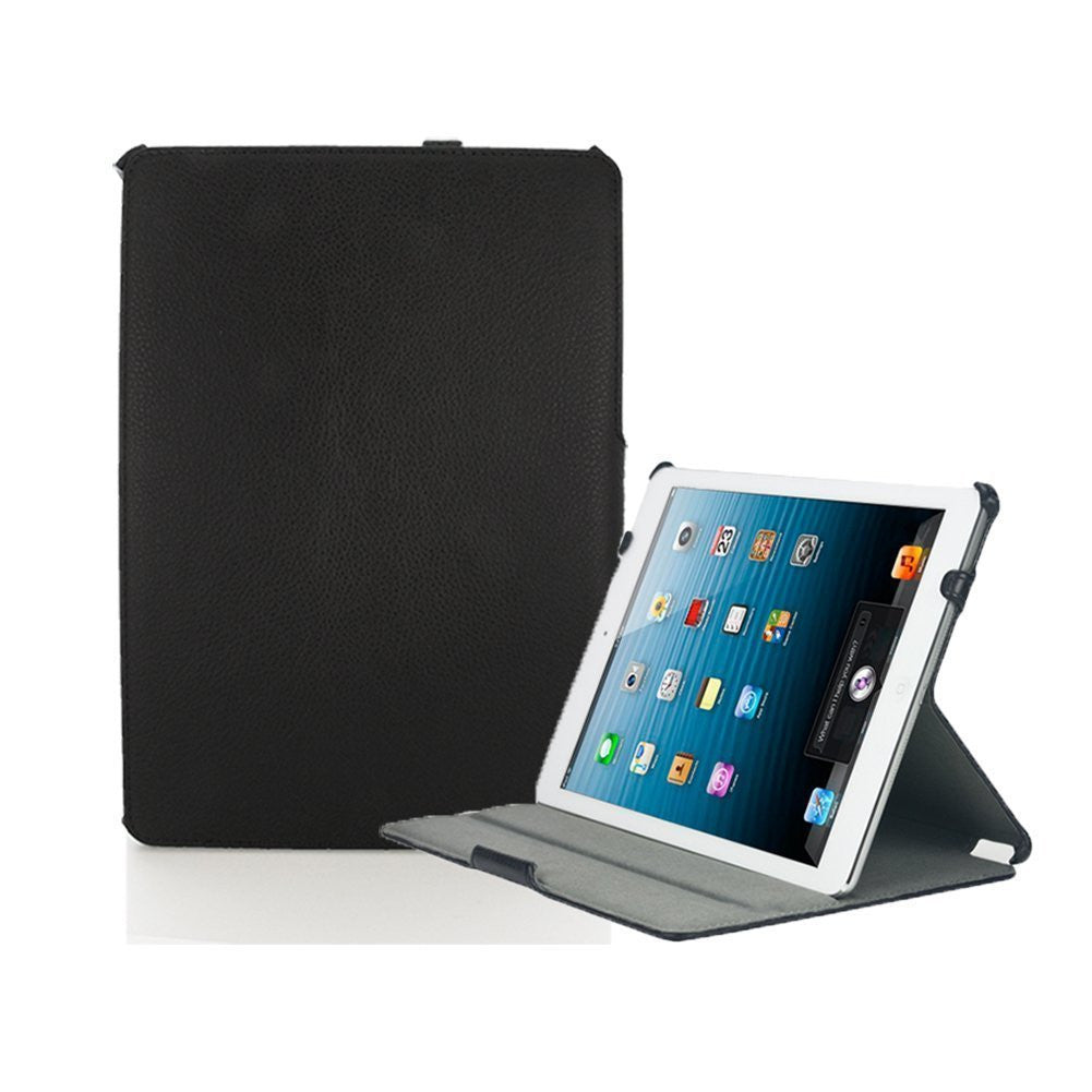 iPad 2/3/4/Retina Dual Leather Hand strap Black Case