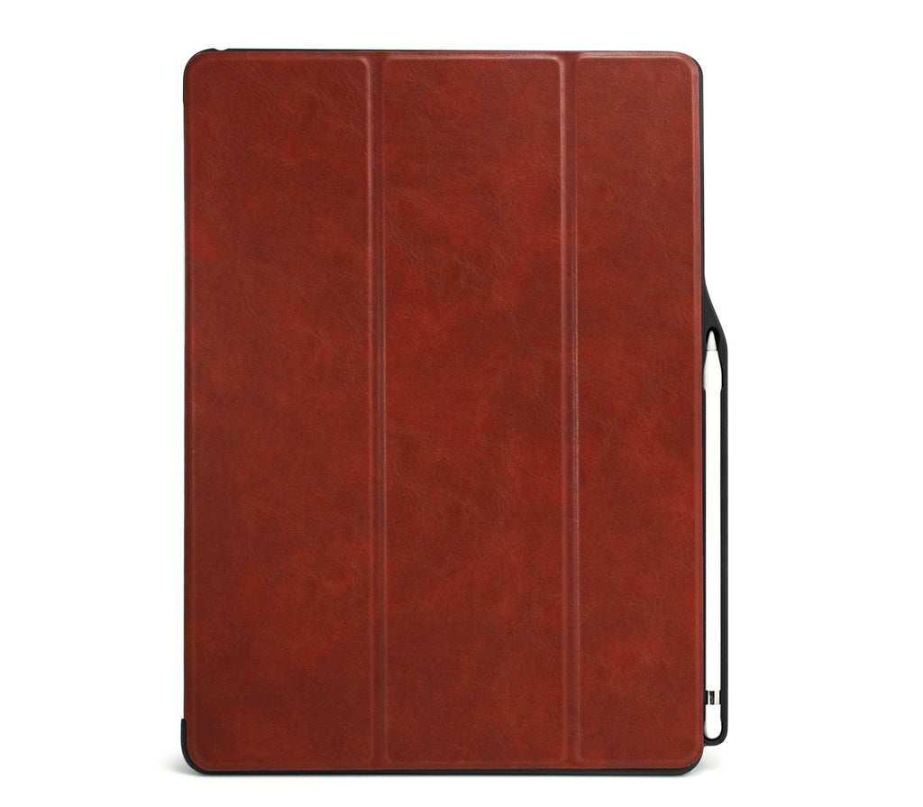 iPad PRO 12.9 2017 / 2015 Smart Case - DUAL PENCIL HOLDER COVER - PU Leather Brown