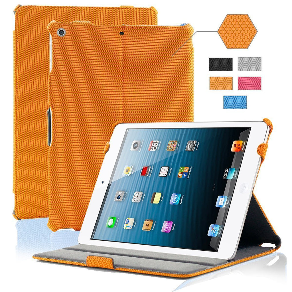 iPad Air Grid Leather Case - ORANGE