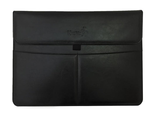 KHOMO MacBook Pro 12 / Macbook Air 13 iPad Pro 12.9 2018, 2017, 2015 - Black Leather Sleeve Case
