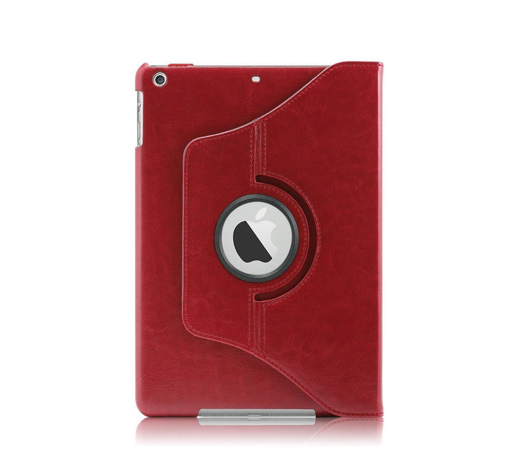 iPad Air PU Leather 360 Degree Rotating Stand Case - Red