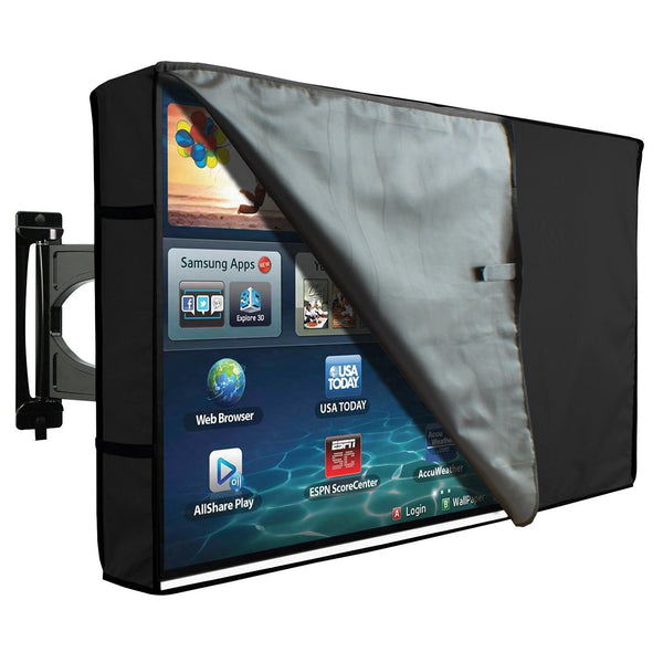 Outdoor Transparent TV Cover - Universal Waterproof Protector for 46 to 48 - Black
