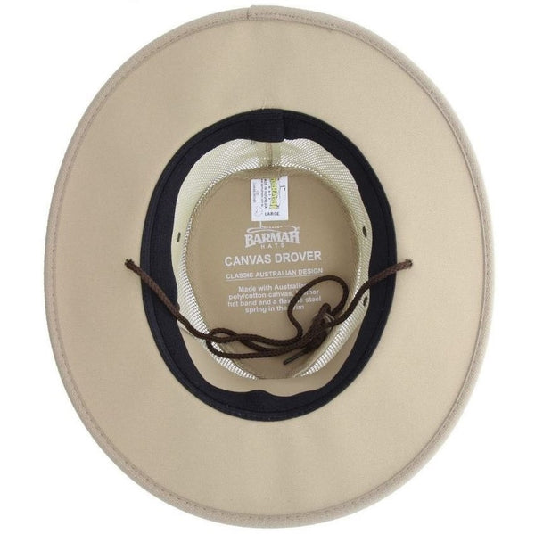 Barmah Hat 1057 Canvas Drover Beige - Inside view