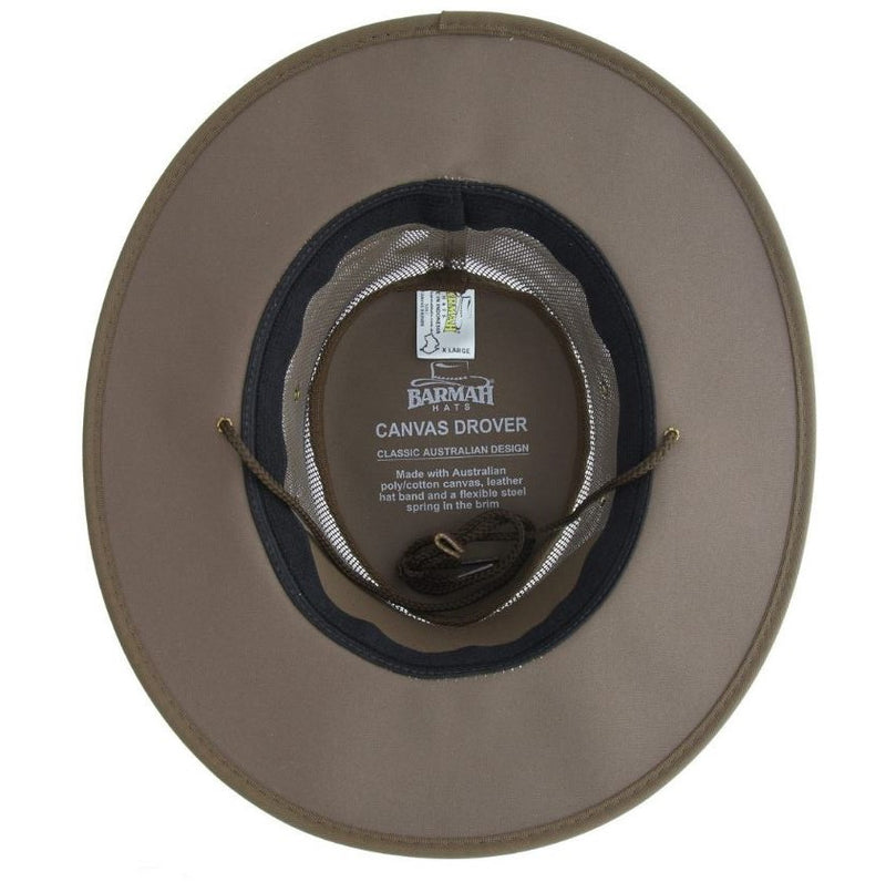 Barmah Hat 1057 Canvas Drover Brown - Inside view