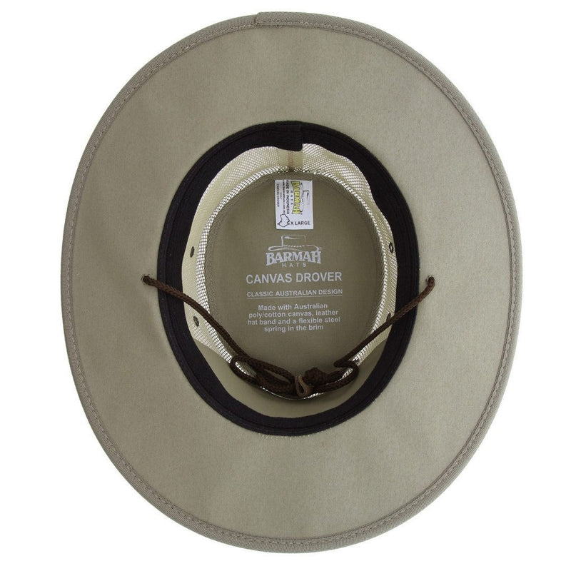 Barmah Hat 1057 Canvas Drover Khaki - Inside view