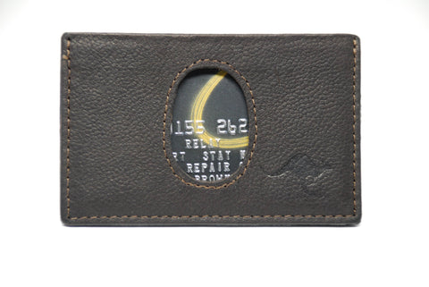Brown M1 Kangaroo Leather Minimalist wallet with RFID protection