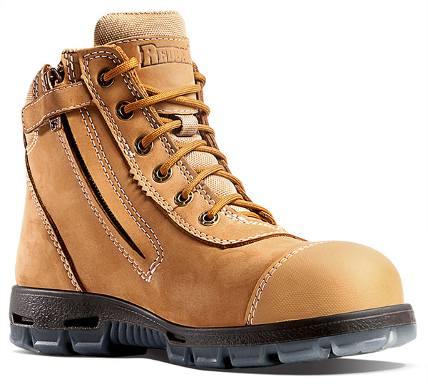 Redback Cobar Lace/Zip up Safety Boots | Wheat USCWZS