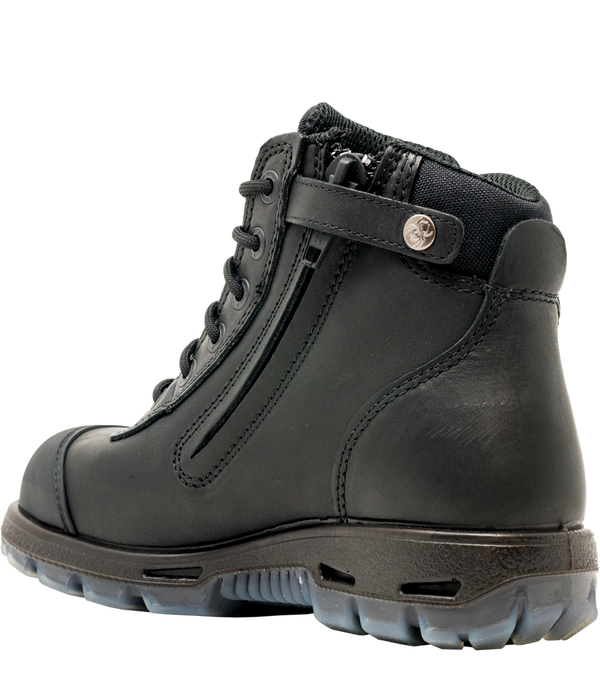 Redback Cobar Lace/Zip up Safety Boots | Black USCBZS side view