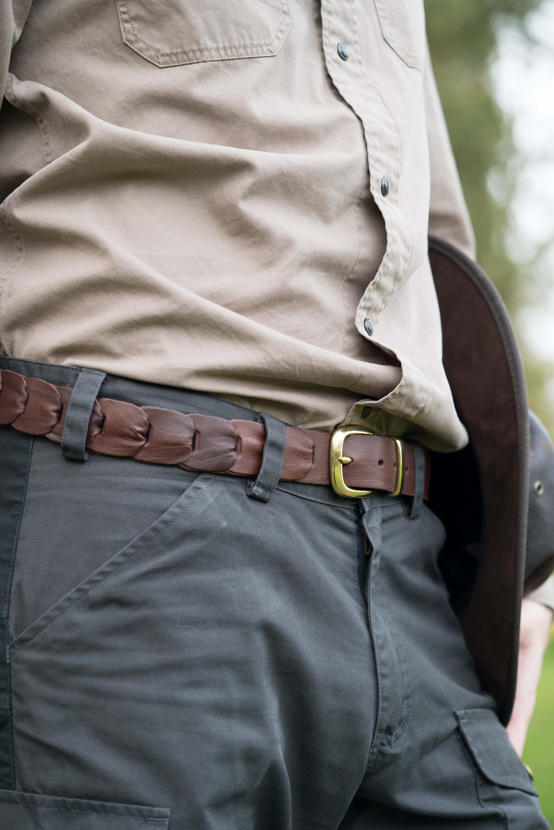Barmah Kangaroo Leather Belt - Broken Hill - Brown