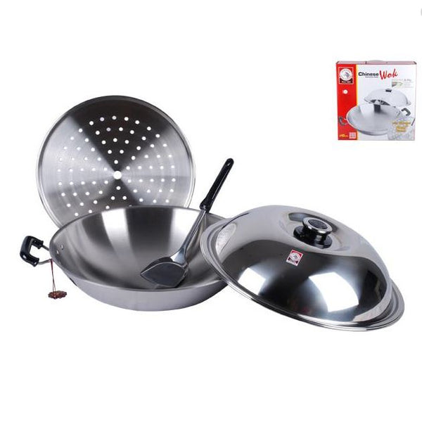 Zebra Head Oriental Wok with Steamer