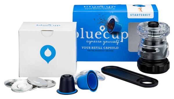 Bluecup Espresso Starter Kit fill capsules with your favourite coffee