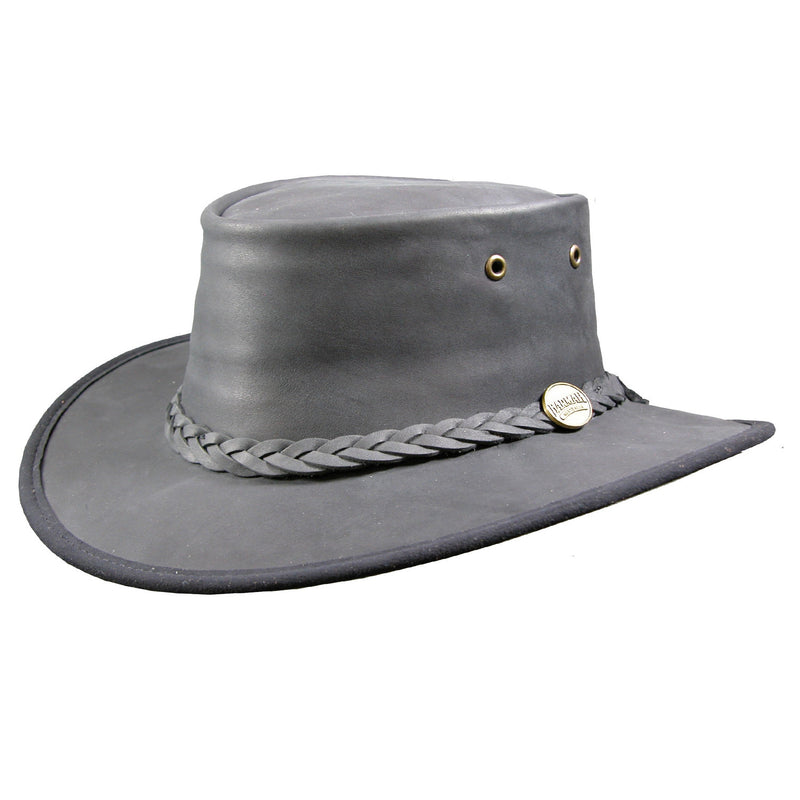 Barmah Hat Black Leather 1060 Folding Sun Bronco